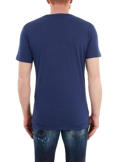 Dsquared2  Baskılı Bisiklet Yaka % 100 Pamuk T Shirt Erkek T Shırt S74Gd0834 S21600 511 Lacivert